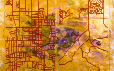 acrylic paint on map
