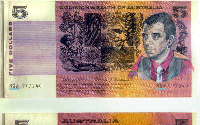 watercolour and gauche on Australian banknotes