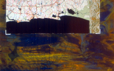 watercolour on map mounted with photo corners over screenprinted silk lampshade material stretched on box under plastic