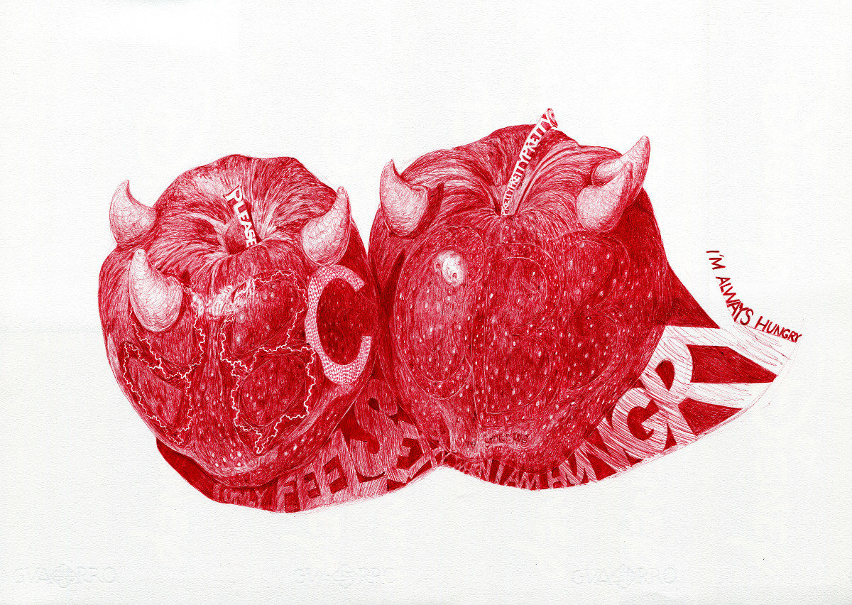 red biro drawing of two bad apples